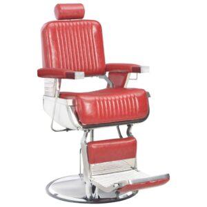 Cadeira de barbeiro 68x69x116 cm couro artificial vermelho - PORTES GRÁTIS