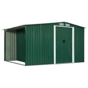 Abrigo de jardim com portas de correr 329,5x131x178cm aço verde - PORTES GRÁTIS
