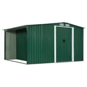 Abrigo de jardim com portas de correr 329,5x205x178cm aço verde - PORTES GRÁTIS