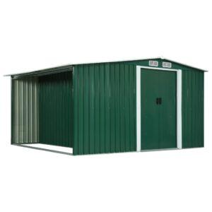 Abrigo de jardim com portas de correr 329,5x312x178cm aço verde - PORTES GRÁTIS