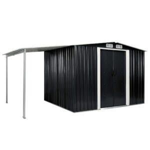 Abrigo jardim c/ portas de correr 386x205x178 cm aço antracite - PORTES GRÁTIS