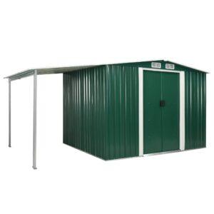 Abrigo jardim c/ portas de correr 386x205x178 cm aço verde - PORTES GRÁTIS