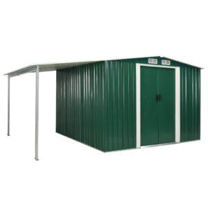 Abrigo de jardim com portas de correr 386x259x178 cm aço verde - PORTES GRÁTIS