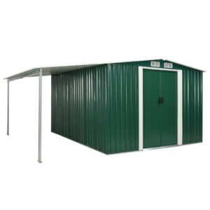Abrigo de jardim com portas de correr 386x312x178 cm aço verde - PORTES GRÁTIS