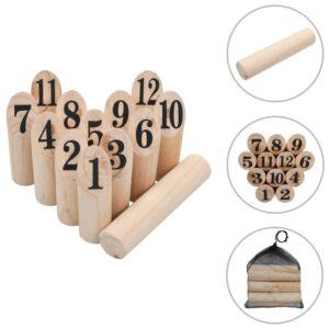 Conjunto de jogo kubb numerado em madeira - PORTES GRÁTIS