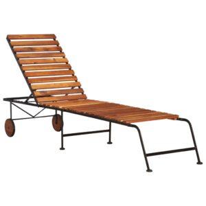 Espreguiçadeira com pernas de aço madeira de acácia maciça - PORTES GRÁTIS