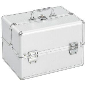 Caixa de maquilhagem 22x30x21 cm alumínio prateado  - PORTES GRÁTIS