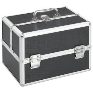 Caixa de maquilhagem 22x30x21 cm alumínio preto - PORTES GRÁTIS