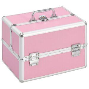 Caixa de maquilhagem 22x30x21 cm alumínio rosa  - PORTES GRÁTIS