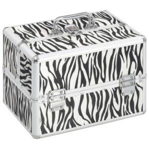 Caixa de maquilhagem 22x30x21 cm alumínio riscas de zebra  - PORTES GRÁTIS