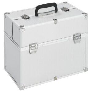 Caixa de maquilhagem 37x24x35 cm alumínio prateado - PORTES GRÁTIS