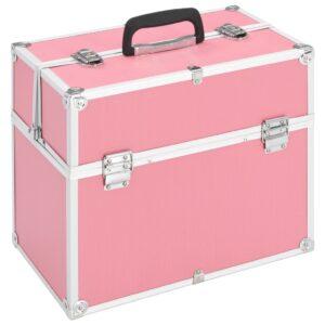 Caixa de maquilhagem 37x24x35 cm alumínio cor-de-rosa - PORTES GRÁTIS