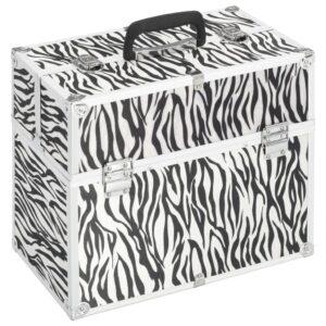 Caixa de maquilhagem 37x24x35 cm alumínio cor listras de zebra - PORTES GRÁTIS