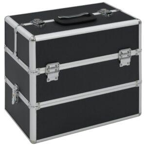 Caixa de maquilhagem 37x24x35 cm alumínio preto - PORTES GRÁTIS