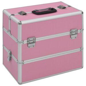 Caixa de maquilhagem 37x24x35 cm alumínio rosa - PORTES GRÁTIS
