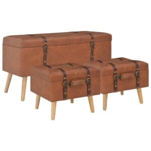 Bancos de arrumação 3 pcs couro artificial bronze - PORTES GRÁTIS