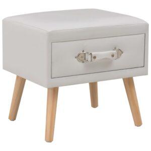 Mesa-de-cabeceira 40x35x40 cm couro artificial branco - PORTES GRÁTIS