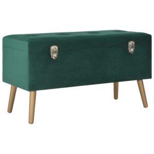 Banco com compartimento de arrumação 80 cm veludo verde - PORTES GRÁTIS