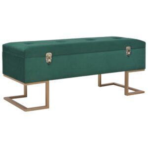 Banco com compartimento de arrumação 105 cm veludo verde - PORTES GRÁTIS