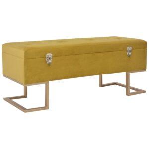 Banco com compartimento de arrumação 105 cm veludo mostarda - PORTES GRÁTIS