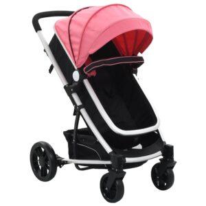 Carrinho de bebé/berço 2 em 1 de alumínio cor-de-rosa e preto - PORTES GRÁTIS