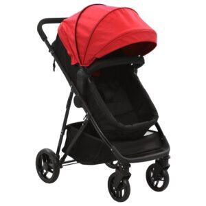 Carrinho de bebé/berço 2 em 1 aço vermelho e preto - PORTES GRÁTIS