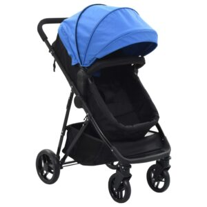 Carrinho de bebé/berço 2 em 1 aço azul e preto - PORTES GRÁTIS