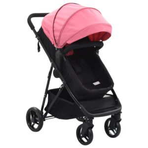 Carrinho de bebé/berço 2 em 1 aço cor-de-rosa e preto - PORTES GRÁTIS