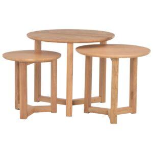 Mesas de centro 3 pcs madeira de carvalho maciça  - PORTES GRÁTIS