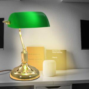 Candeeiro de secretária 40 W verde e dourado - PORTES GRÁTIS
