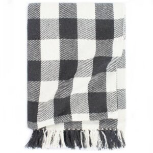 Manta em algodão 125x150 cm xadrez antracite - PORTES GRÁTIS