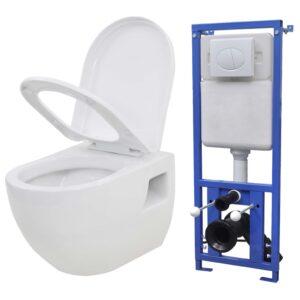 Sanita de parede com cisterna oculta em cerâmica branco - PORTES GRÁTIS