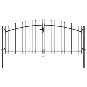 Portão de cerca com porta dupla e topo em lanças 300x150 cm - PORTES GRÁTIS