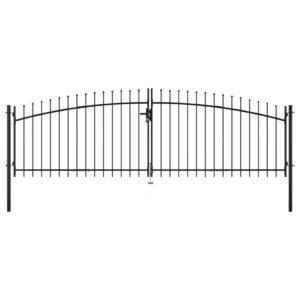 Portão de cerca com porta dupla e topo em lanças 400x150 cm - PORTES GRÁTIS