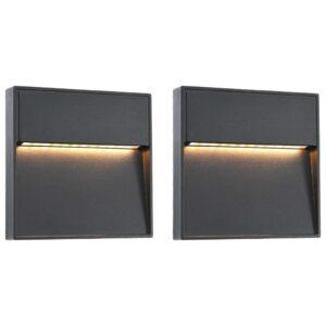 Candeeiros LED de parede exterior 2 pcs 3 W quadrado preto - PORTES GRÁTIS