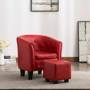 Poltrona com apoio de pés couro artificial vermelho - PORTES GRÁTIS