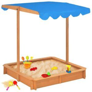 Caixa de areia com telhado ajustável madeira UV50 azul - PORTES GRÁTIS