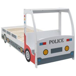 Cama carro da policia para crianças com secretária 90x200 cm  - PORTES GRÁTIS