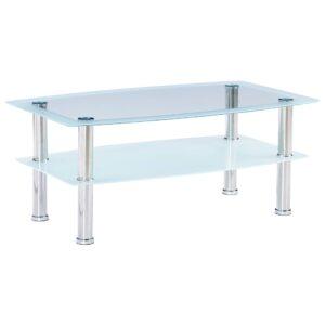 Mesa de centro 100x60x42 cm vidro temperado branco  - PORTES GRÁTIS
