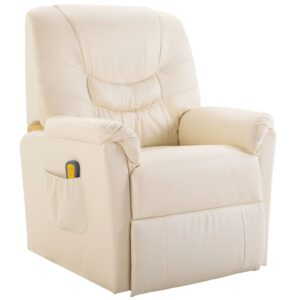 Cadeira de massagem elétrica em couro artificial, creme  - PORTES GRÁTIS