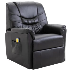 Cadeira de massagem elétrica em couro artificial, preto  - PORTES GRÁTIS