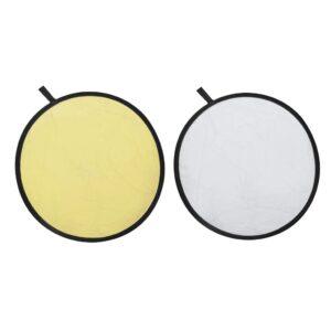 Painel refletor dourado e prata redondo - PORTES GRÁTIS