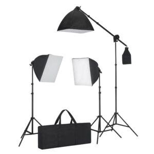 Conjunto iluminação com 3 lâmpadas fotografia + tripé e softbox - PORTES GRÁTIS