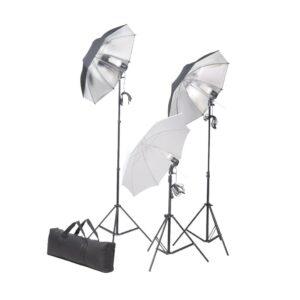 Conjunto de iluminação para estúdio com tripés e sombrinhas 24 W - PORTES GRÁTIS