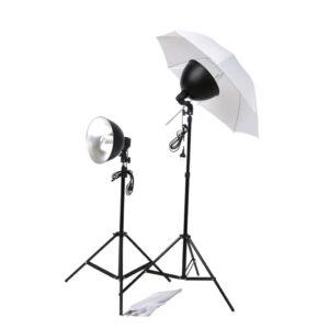 Conjunto de iluminação para estúdio com sombrinhas, refletores e tripés - PORTES GRÁTIS