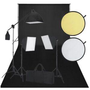 Kit de estúdio: pano preto de fundo, 3 lâmpadas de luz diária  - PORTES GRÁTIS