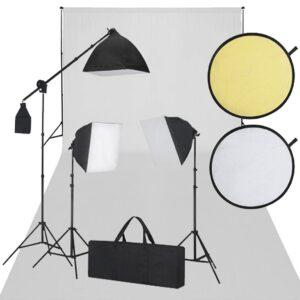 Conjunto estudio fotografico cenario blanco 3 luces de dia 1 reflector - PORTES GRÁTIS