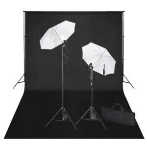 Kit de estúdio com fundo preto 600x300 cm e luzes  - PORTES GRÁTIS