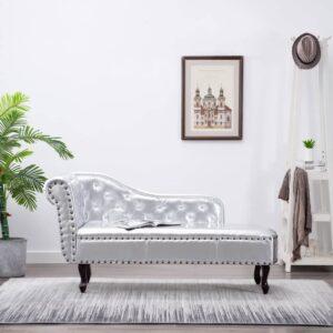 Chaise longue couro artificial prateado - PORTES GRÁTIS
