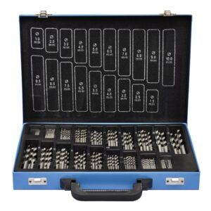 Conjunto de Brocas de Titânio com Caixa de Metal HSS TI ,170 peças - PORTES GRÁTIS